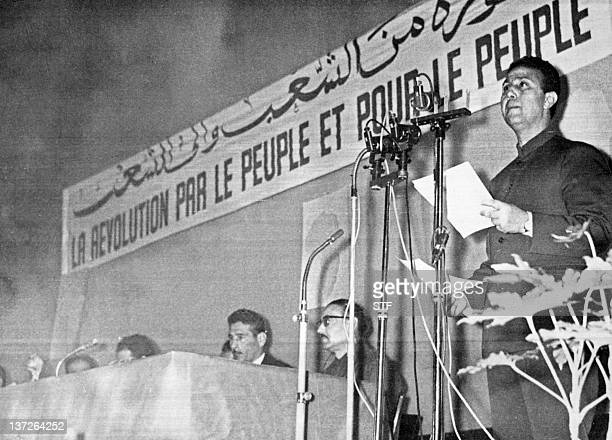 Algeria's president Ahmed Ben Bella delivers an opening speech during a National Liberation Front conference in Algiers 16 April 1964Le président...