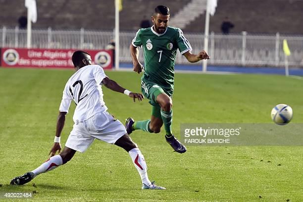 Algeria's Riyad Mahrez vies with Guinea's Ibrahima Sory Conte during the friendly football match Algeria versus Equatorial Guinea as part of the...