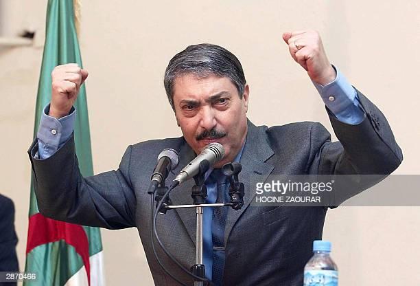 Algeria's ruling National Liberation Front secretary general Ali Benflis speaks 15 January 2004 in the popular Badjarah area, east of Algiers....