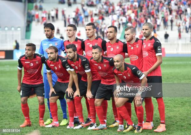 Algeria's USMA players pose for a group picture prior to the CAF Champions League between USM Alger and Ferroviario de Beira of Mozambique at the 5...