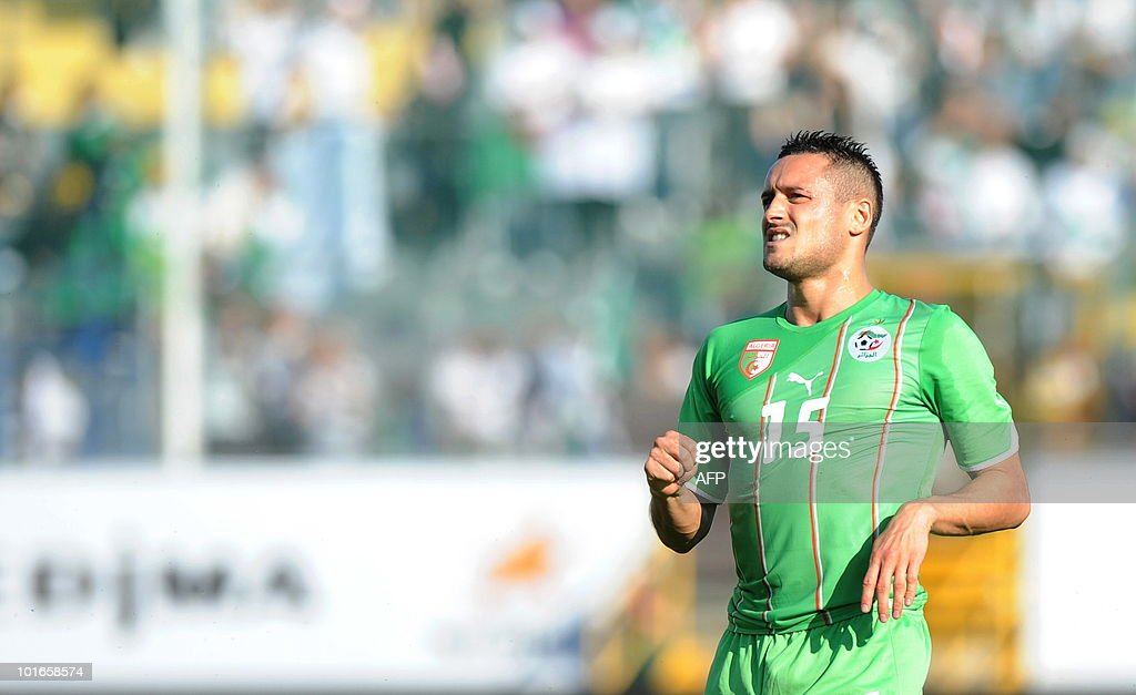 Algeria's Ziani Karim reacts during a friendly football match between Algeria and the United Arab Emirates in Fuerth, southern Germany, June 5, 2010.