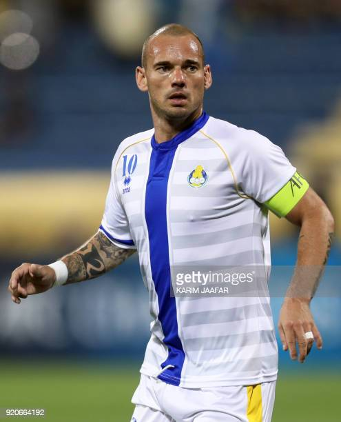 AlGharafa's Wesley Sneijder looks on during the AFC Champions League Group A football match between Qatar's AlGharafa and Tractor Sazi Tabriz of Iran...