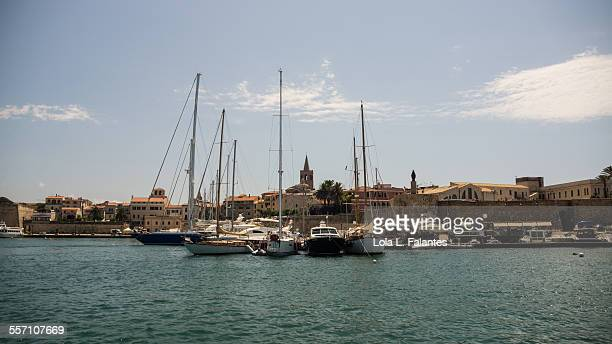 Alghero harbor view from the sea