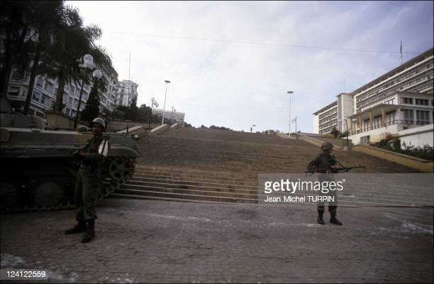 Algiers after President Chadli resigned army in the streets in Algiers Algeria on January 12 1992 In front of government hq
