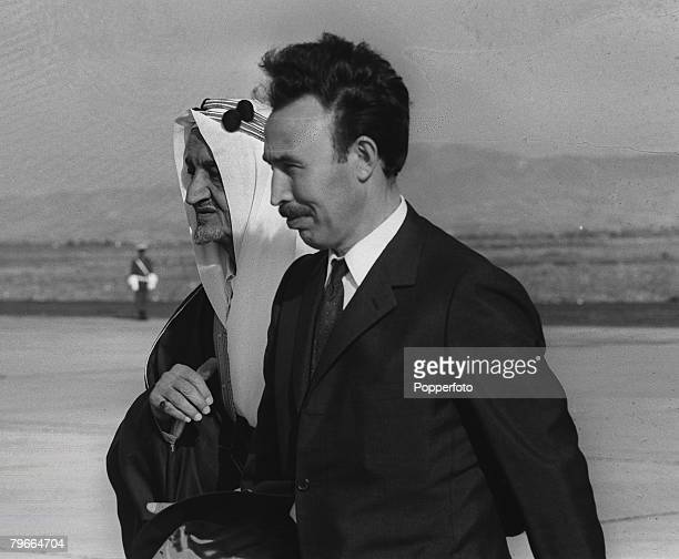 Algiers, Algeria, 16th June 1970, King Faisal of Saudi Arabia of pictured with Algerian President Houari Boumedienne in Algiers during an official...