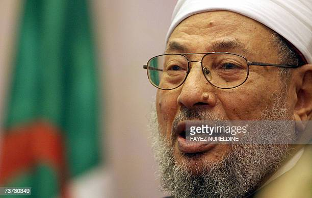 Qatar's Egyptianborn cleric Sheikh Yusuf alQaradawi speaks during a press conference held on the eve of the fifth International AlQuds conference in...