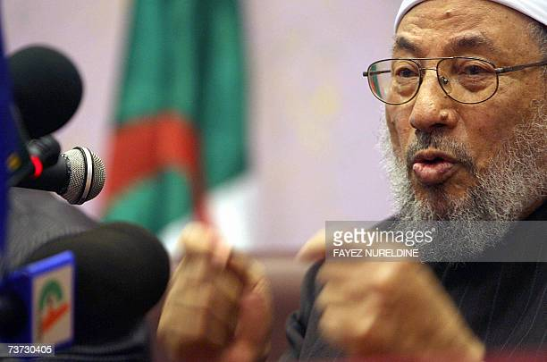 Qatar's Egyptionborn cleric Sheikh Yusuf alQaradawi gestures during a press conference held on the eve of the fifth International AlQuds conference...