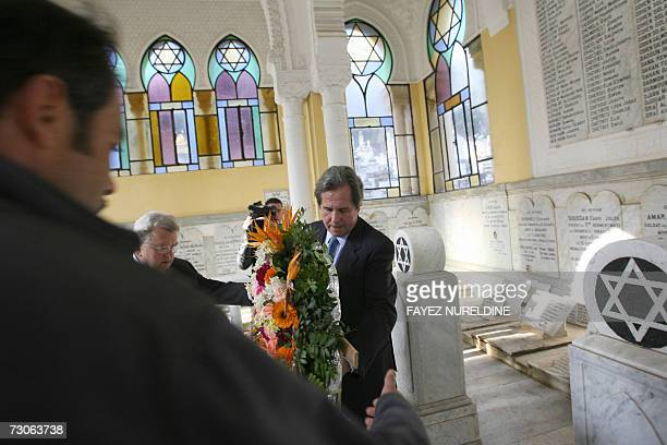 Speaker of the French National Assembly JeanLouis Debre lays a wreath at a Jewish memorial tomb in the French 'Bologhine cemetery' in Algiers City 22...
