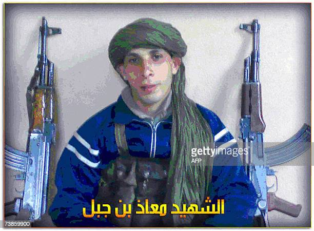 This picture posted on the internet by alhesbahorg 11 April 2007 alledgedly shows 'The Martry Muaaz bin Jabal' one of the suicide bombers responsible...