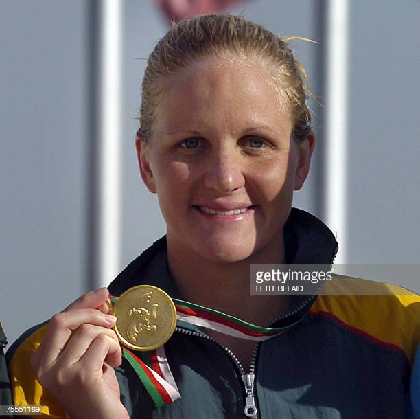 Zimbawean Kirsty Coventry poses 18 July 2007 after her gold medal win in the women's women's 200m medley event at the 9th AllAfricanGames 2007 in...