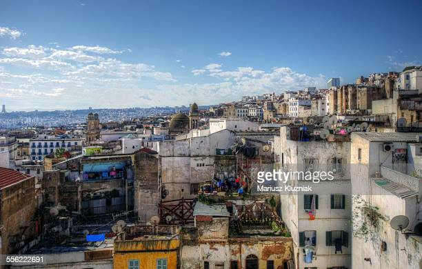 algiers kasbah rooftops aerial view - algeria stock pictures, royalty-free photos & images