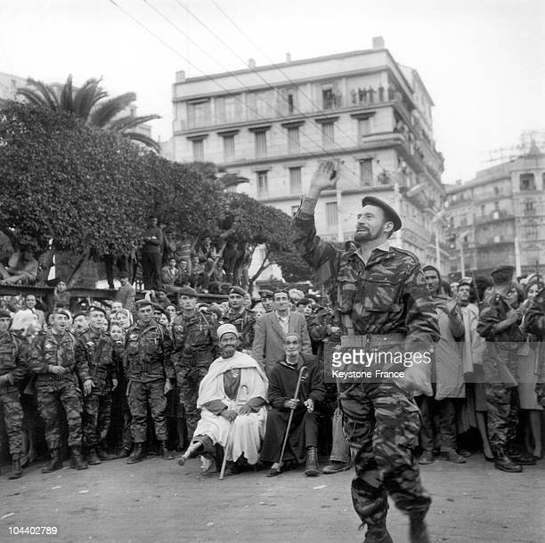 Algiers Pierre LAGAILLARDE one of the two leaders of the proFrench Algeria protesters temporarily leaves the university building in which he has...