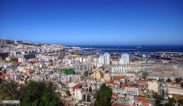 algiers white city aerial view - algiers algeria stock pictures, royalty-free photos & images