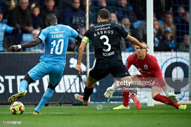 Al-Hadji Kamara of Randers FC scores his 2-0 goal during the Danish 3F Superliga match between Randers FC and AGF Arhus at Cepheus Park Randers on...