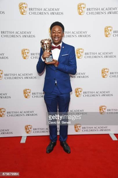 Alhaji Fofana winner of the Performer award poses in the winners room at the BAFTA Children's Awards at The Roundhouse on November 26 2017 in London...