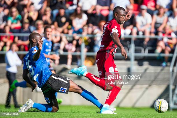 Alhaji Gero of Ostersunds FK and Aboubakar Keita of Halmstad BK competes for the ball during the Allsvenskan match between Ostersunds FK and Halmstad...