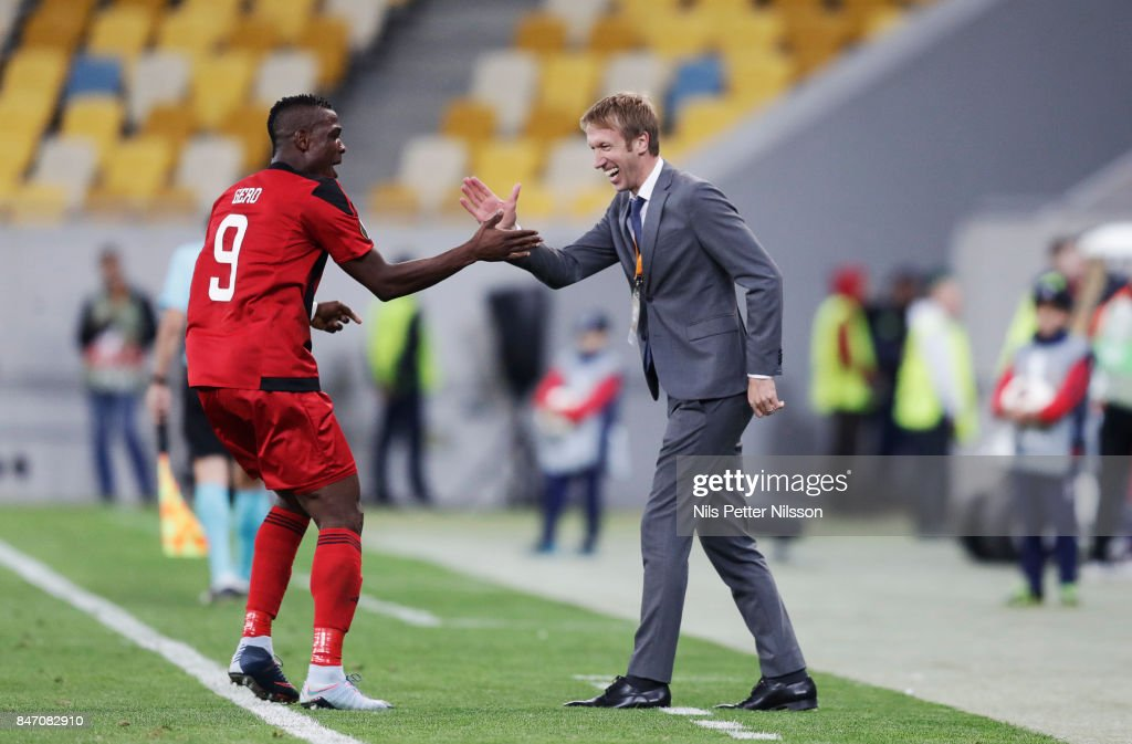 Alhaji Gero of Ostersunds FK and Graham Potter, head coach of Ostersunds FK celebrates during the UEFA Europa League group J match between Zorya Lugansk and Ostersunds FK at Arena Lviv on September 14, 2017 in Lviv, Ukraine.