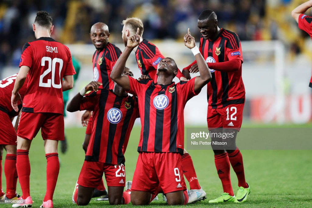 Alhaji Gero of Ostersunds FK celebrates after scoring to 0-2 during the UEFA Europa League group J match between Zorya Lugansk and Ostersunds FK at Arena Lviv on September 14, 2017 in Lviv, Ukraine.