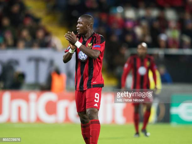 Alhaji Gero of Ostersunds FK celebrates after scoring to 1-0 during the UEFA Europa League group J match between Ostersunds FK and Hertha BSC at...