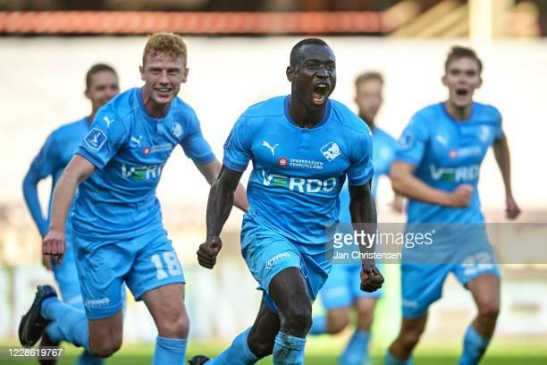 Alhaji Kamara of Randers FC and teakkates celebrating his 1-0 goal during the Danish 3F Superliga match between Randers FC and AGF Arhus at Cepheus...