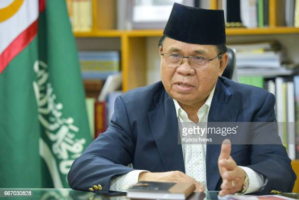 AlHajj Murad Ebrahim head of the Moro Islamic Liberation Front gives an interview to Kyodo News in the suburbs of Cotabato on Mindanao island on...