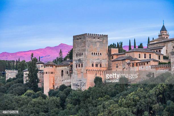 alhambra during sunset - one of 7 new world wonders - alhambra spain stock pictures, royalty-free photos & images