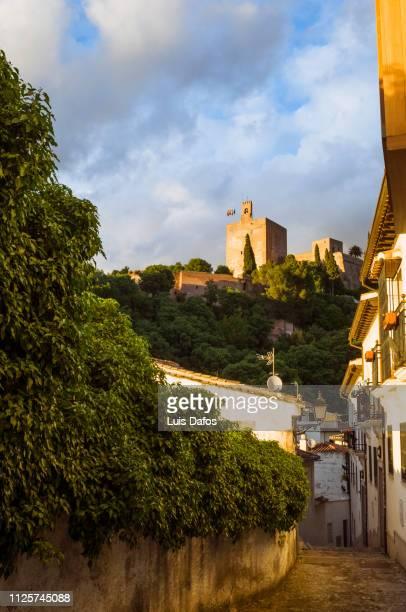 alhambra from realejo district, granada - albaicín fotografías e imágenes de stock