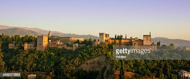 alhambra golden hour panorama in granada, spain - granada spain landmark stock pictures, royalty-free photos & images