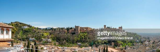 alhambra on the sabikah hill, moorish city castle, nasrid palaces, palace of charles the fifth, panorama, granada, andalusia, spain - granada provincia de granada stock pictures, royalty-free photos & images