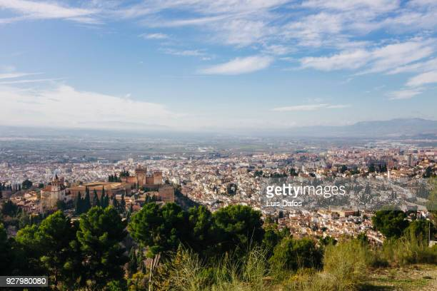 Alhambra palace and Granada city overview