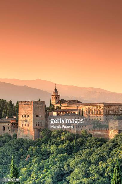 alhambra palace complex, andalucia, granada - granada spain landmark stock pictures, royalty-free photos & images
