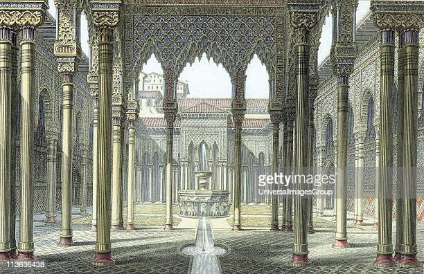 Alhambra palace of Moorish kings of Granada partly rebuilt by Emperor Charles V c1530 Court of the Lions Late 19th century colourprinted engraving