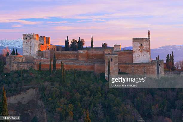 Alhambra UNESCO World Heritage Site Alcazaba at Sunset Granada Andalusia Spain