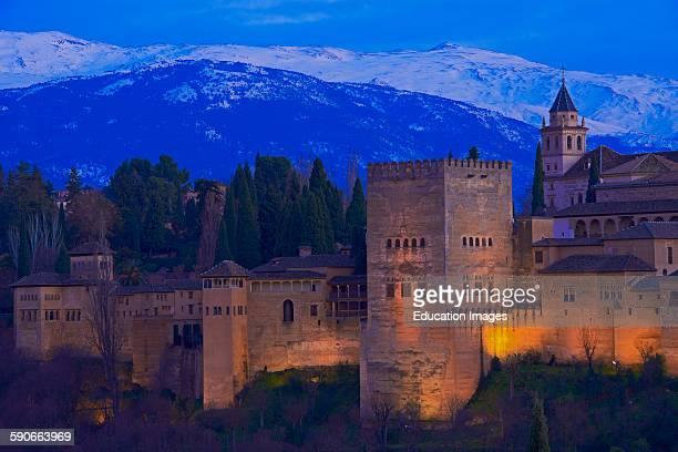 Alhambra UNESCO World Heritage Site Sierra Nevada and la Alhambra at Dusk Granada Andalusia Spain