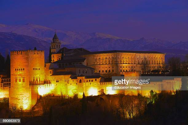 Alhambra UNESCO World Heritage Site Sierra Nevada and la Alhambra at Dusk Granada Andalusia Spain