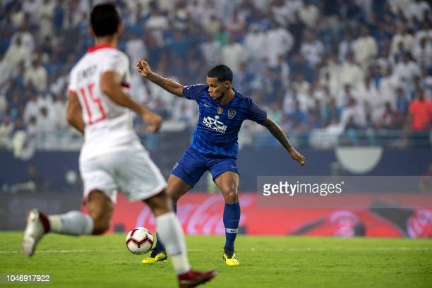 AlHilal's Gelmin Rivas controls the ball during the first leg of the Saudi and Egypt super match between Saudi's Al Hilal and Egypt's Zamalek at the...