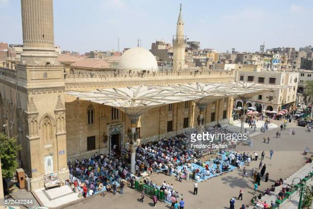 AlHussein Mosque in Cairo Friday prayer at the AlHussein Mosque built in 1154 in Cairo on September 22 2014 in Cairo Egypt
