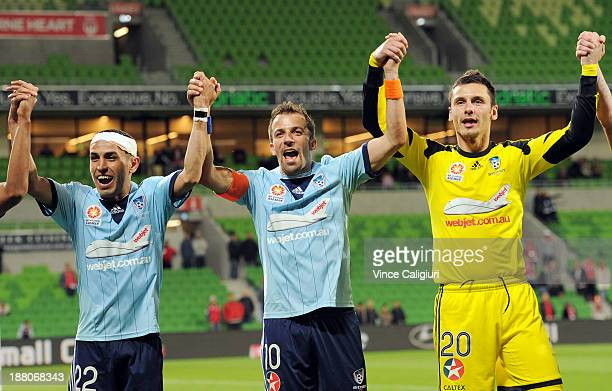 Ali Abbas Alessandro Del Piero and Vedran Janjetovic of Sydney celebrate 20 win during the round six ALeague match between the Melbourne Heart and...