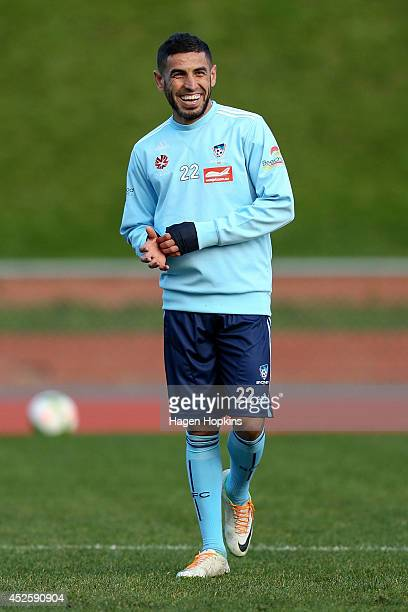 Ali Abbas enjoys a laugh during a Sydney FC training session at Newtown Park on July 24 2014 in Wellington New Zealand