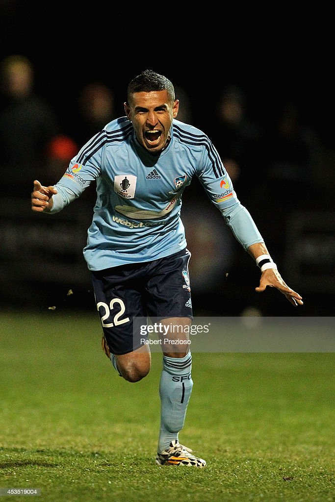Ali Abbas of Sydney celebrates after scoring a penalty during the FFA Cup match between Melbourne City and Sydney FC at Morshead Park Stadium on August 12, 2014 in Ballarat, Australia.