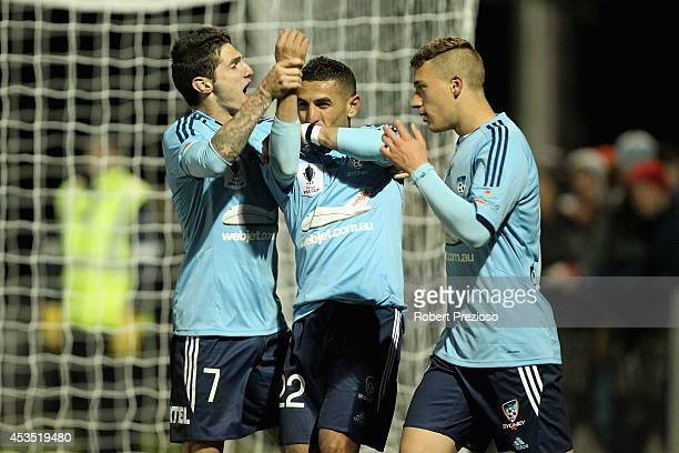 Ali Abbas of Sydney celebrates with teammates after scoring a penalty during the FFA Cup match between Melbourne City and Sydney FC at Morshead Park...