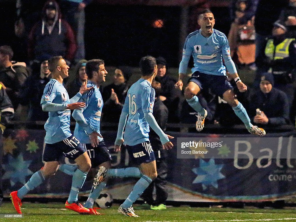 Ali Abbas (R) of Sydney FC celebrates after scoring a goal during the FFA Cup match between Melbourne City and Sydney FC at Morshead Park Stadium on August 12, 2014 in Ballarat, Australia.
