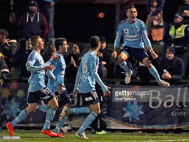 Ali Abbas of Sydney FC celebrates after scoring a goal during the FFA Cup match between Melbourne City and Sydney FC at Morshead Park Stadium on...