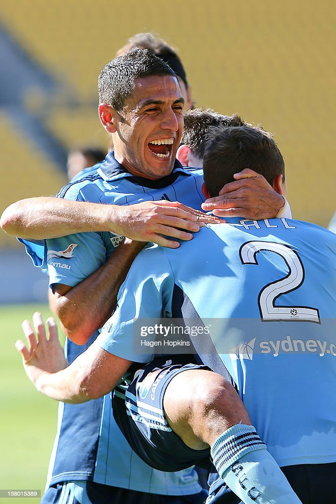 Ali Abbas of Sydney FC congratulates teammate Sebastian Ryall on his goal during the round 10 A-League match between Wellington Phoenix and Sydney FC at Westpac Stadium on December 9, 2012 in Wellington, New Zealand.