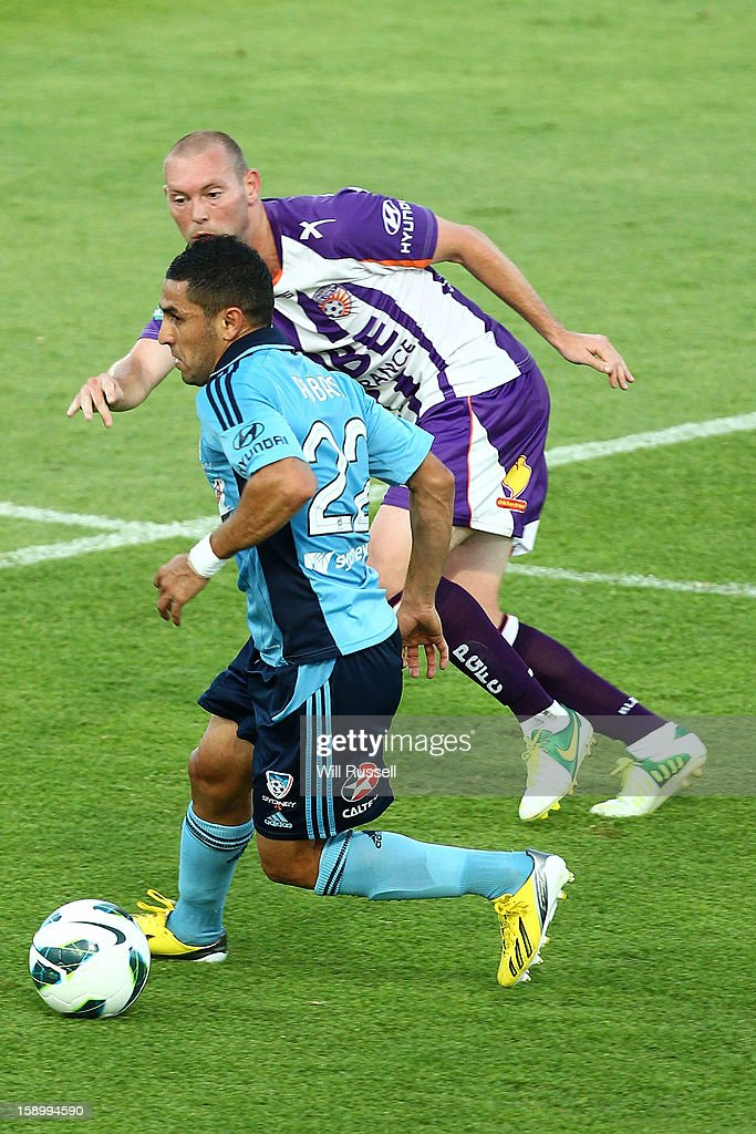 Ali Abbas of Sydney looks to pass the ball during the round 15 A-League match between the Perth Glory and Sydney FC at nib Stadium on January 5, 2013 in Perth, Australia.