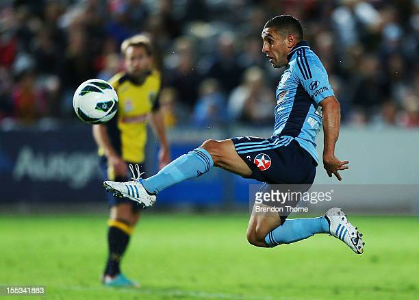 Ali Abbas of Sydney scores during the round five ALeague match between the Central Coast Mariners and Sydney FC at Bluetongue Stadium on November 3...
