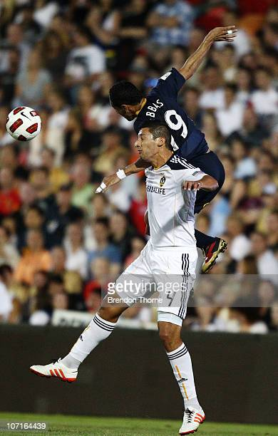 Ali Abbas of the Jets competes with Omar Gonzalez of the Galaxy during the friendly match between the Newcastle Jets and the LA Galaxy at...