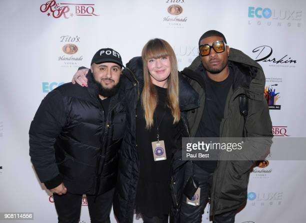 Ali Abouomar Teresa deWilde and Gatsby Randolph attend the EcoLuxe Lounge Park City on January 20 2018 in Park City Utah