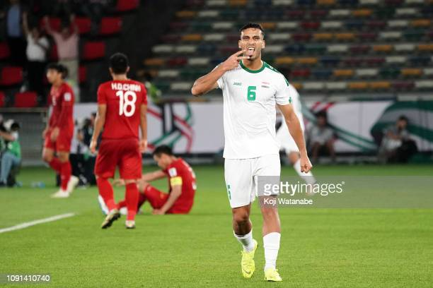 Ali Adnan AlTameemi of Iraq celebrates winning during the AFC Asian Cup Group D match between Iraq and Vietnam at Zayed Sports City Stadium on...