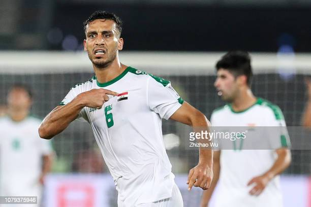 Ali Adnan Kadhim of Iraq celebrates his scoring by free kick during the AFC Asian Cup Group D match between Iraq and Vietnam at Zayed Sports City...